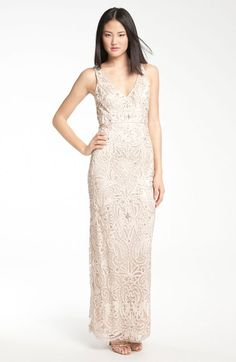 Sue Wong V-neck Embroidery Bead Overlay Gown - Lyst