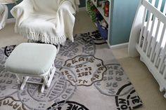 Adorable travel-themed nursery for a boy or a girl. Love the rug