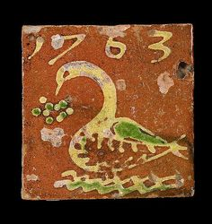 ¤ Dutch slipware tile, dated 1763 trailed in cream and green with a swan, Antique Tiles, Antique Pottery, Pottery Art, Delft Tiles, Mosaic Tiles, Ceramic Painting, Ceramic Art, Architecture Unique, Encaustic Tile