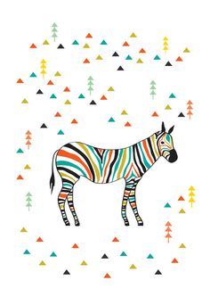 Colorful Zebra Illustration Art Print Animal Children decor, Kids Room, Wedding Birthday Anniversary Gifts. $18,00, via Etsy.