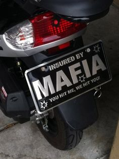 Cute Car Plate- Protected by Mafia attitude. You have been warned. Kekeke