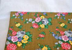 Vintage staple boho fabric with yellow and orange roses, staple ...