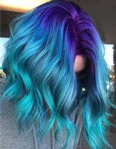 Hair lengths Blue Hair Color Highlights for Medium Hair Hair color blue Blue hair Color Hair Highlights lengths medium Blue Hair Streaks, Blue Ombre Hair, Hair Color Highlights, Ombre Hair Color, Gray Hair, Dyed Hair Blue, Dye Hair, Blue Hair Colour, Dyed Hair