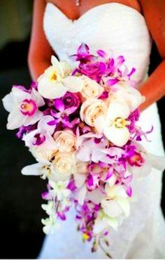 Gorgeous white pink  purple orchid wedding bride's wedding bouquet ideas Toni Kami Wedding Hairstyles ♥ ❷ Bridal flowers