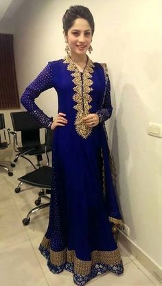 Dark Blue is The New Anakali Style Check this Anarkali out with gold embroidery around neck area. #Partywear