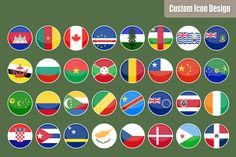Flat Round World Flag Icons @creativework247