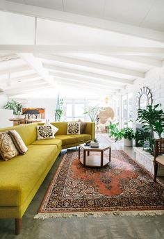 9 Sofas That Will Make You Rethink Your Neutral Decor   Mid Century Modern Vintage Design Living Room Decor Inspiration Chartreuse Sofa Couch - yellow sofa shape