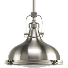 Progress Lighting�Fresnel 12.125-in W Brushed Nickel Pendant Light with Clear Shade/ 12 X 10 1/2 $215