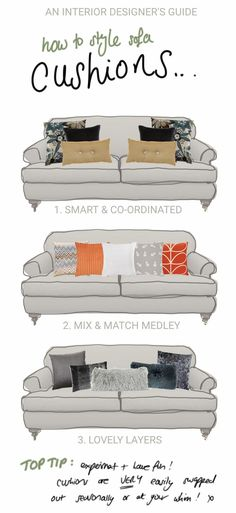 How to style sofa cushions like an interior designer. How to style sofa cushions like an interior designer. Couch Furniture, Living Room Furniture, Furniture Design, Trendy Furniture, Couch Pillow Arrangement, Le Living, Living Rooms, Couch Cushions, Cushions On Sofa Color Schemes