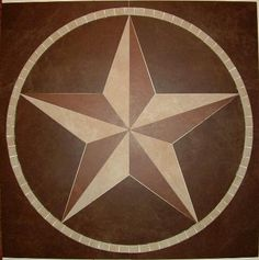 Texas State Star in Bias/Relief This one is made from 3 colors of tile from Marazzi. Overall size Rustic Western Decor, Western Art, Dal Tile, Texas Star, Decorative Tile, Tile Art, Tile Design, Rustic Furniture, Wood Art