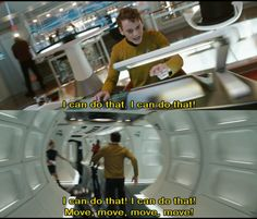 I think this is my favorite part of the movie, when he just starts running and yelling at people to move