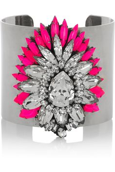 SHOUROUK    Sterling Silver Cuff with Swarovski bright pink and clusters of clear crystals!
