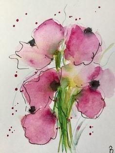ORIGINAL AQUARELL Aquarellpostkarte Bild Kunst Blume Blütenzweig Watercolor | eBay