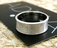 White Gold Finger Print Ring or Thumbprint Wedding Band Concave Matte Personalized Customized. Wedding Bands For Him, Wedding Men, Diamond Wedding Bands, Our Wedding, Wedding Rings, Wedding Ideas, Wedding Wishes, Wedding Photos, Fingerprint Wedding Bands