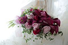 このワインレッド色のカラーの花は、マジェスティックレッドという品種、 目黒雅叙園様へ。 会場装花も一緒にコーディネイトさせていただいたとき...