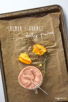 This quick salmon + orange puree is an tasty addition to add to any puree comtination! Full of brain boosting omega-3 fatty acids, protein and a ton of vitamins, salmon puree is a near perfect food for baby at any age!