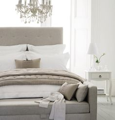 Khaki + white bedroom.