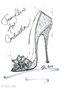 See how nine of Saks Fifth Avenue's favorite designers put their own spin on the iconic glass slipper from Disney's Cinderella, opening in theatres March Design By: Jimmy Choo Cinderella Slipper, Cinderella Shoes, Cinderella Sketch, Cinderella 2014, Jimmy Choo, Shoe Sketches, Fashion Sketches, Fashion Illustrations, Fashion Drawings
