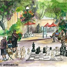Pioneer Square Chess Hand made Greeting Card from Seattle