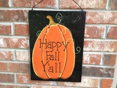 Wooden Orange and Black Happy Fall Yall Pumpkin by SouthernSupply