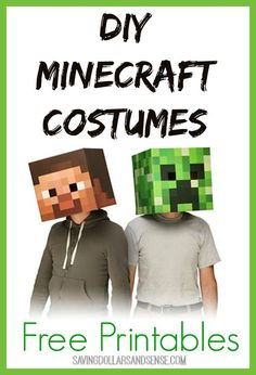 Use the FREE Printables to make your own Minecraft Masks.:
