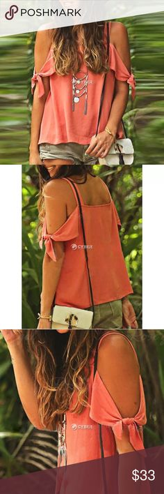 Orange Tank Top  Orange rayon off the shoulder tank top. Very lightweight rayon fabric. Tops Tank Tops