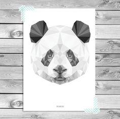 Printable A4 Art Poster Print Zwart Wit Grijs Panda door DesignClaud