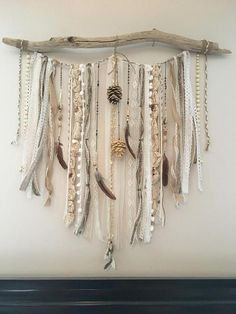 Lace wall hanging / Bohemian Decor / OOAK / Driftwood Wall Hanging / Feather Decor / Dream Catcher / Large Wall Hanging / Bedroom Decor Handmade one of a kind lace wall hanging made from driftwood, vintage laces, ribbons and beads, fe.