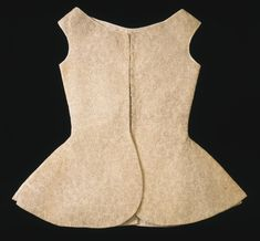 Woman's Quilted Waistcoat (Philadelphia Art Museum) Artist/maker unknown, English Geography: Made in England, Europe Date: c. 1700 Medium: Plain weave cotton with silk back stitched to cotton batting and backing; linen lining and twill tape Curatorial Department: Costume and Textiles Accession Number: 1996-107-2