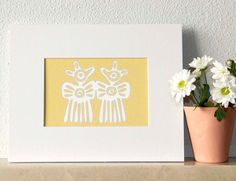 Christmas Decor with Angel in Yellow Ochre Print por ColorsforNuna