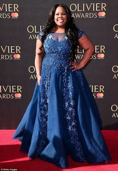 Amber Riley Photos - Amber Riley attends The Olivier Awards 2017 at Royal Albert Hall on April 2017 in London, England. - The Olivier Awards 2017 - Red Carpet Arrivals Plus Size Chic, Look Plus Size, Plus Size Prom, Blue Ball Gowns, Blue Gown, Curvy Celebrities, Amber Riley, Plus Size Evening Gown, Plus Size Fashionista