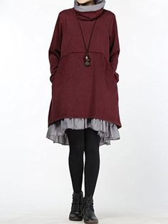 Gracila Layered Turtleneck Women Dresses