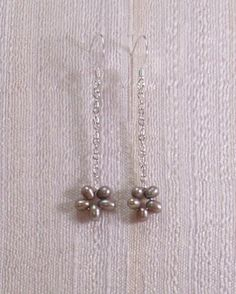 K.I.S.S. Silver Linear Flower Earrings with Gray by MatriarchbyFP, $17.00