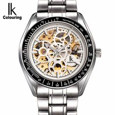 (26.90$)  Buy here - http://ai592.worlditems.win/all/product.php?id=32788987107 - Luminous New IK Men's Skeleton WristWatch Stainless steel Antique Steampunk Casual Automatic Skeleton Mechanical Watches Male