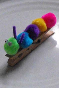 Preschool Arts & Crafts Activities: Make a Pom Pom Caterpillar!