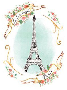 La Tour Eiffel, A5 giclée print.