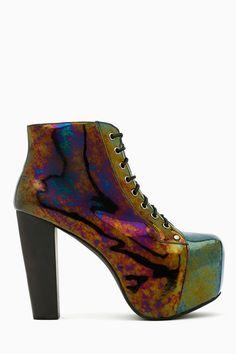 """Jeffrey Campbell Lita Platform Boot - Oil Slick"" at Nasty Gal"