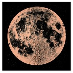 Brillant or Print de lune sérigraphie grand carré par alittlelark