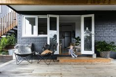 A boutique renovation company created by three best friends and busy mums. We swapped the boardroom for a building site to pursue a passion for RENOVATING. Learn how to renovate just like we do with THE RENO SCHOOL! House Color Schemes, House Colors, Porches, Charcoal House, Painted Brick Exteriors, Painted Bricks, Pergola, Three Birds Renovations, Exterior Makeover