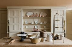 Artichoke's background reference images from period kitchen and sculleries found in important National Trust houses in England and Wales. Old Kitchen, Kitchen Dining, Kitchen Decor, Kitchen Dresser, Dining Rooms, Kitchen Ideas, National Trust, Dresser Shelves, World Of Interiors