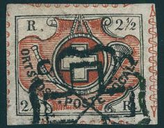 """Switzerland, Michel 4, 2 ½ Rp. black / brown red, so called """"Winterthur"""", wonderful fresh colors and with wide margins with separation ornaments on all four sides, especially nice and clear used with black of Zurich rosette. An outstanding quality this Switzerland rarity for the highest standards! Expertized Schlesinger, certificates with photograph walnut Bisser, Eichele. SBK 6000,- Sfr."""