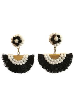 Retro Fan Shoulder Duster Earrings white decorative trim stud with black and white flower design gold vermeil chain drop gold plated brass fan connector white decorative trim. Earrings Handmade, Etsy Earrings, Handmade Jewelry, Handmade Items, Jewelry Show, Jewelry Design, Fine Jewelry, Bridesmaid Jewelry, Bridal Jewelry