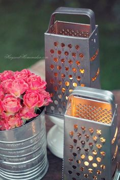 cheese grater flower vase - Google Search