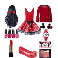 This Minnie Mouse outfit would be so cute! Especially for anyone going to Disney Land/ Disney World