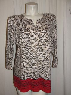 Chico's Top Brown Red White 100% Cotton 3/4 Sleeve Tunic Shirt Women's Size 2 L #Chicos #Tunic #CasualCareer