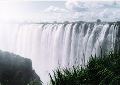 Victoria Falls from the Zambian side looking across the Zambezi through the spray to Zimbabwe - April 1994