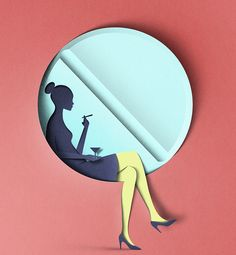 "Editorial Illustration by Eiko Ojala for the New York Observer's article ""Uptown Pill-Poppers Struggle to Hide Excesses From the Kids"". Interesting use of cut paper to create clean graphics with real shadows. Shadows are also used to hide the figure and reveal the pill shaped window behind."