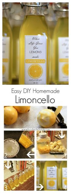Limoncello I can't believe how simple it really is! I can't believe how simple it really is! Party Drinks, Cocktail Drinks, Fun Drinks, Cocktail Recipes, Alcoholic Drinks, Cocktails, Beverages, Making Limoncello, Homemade Limoncello