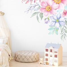 Spring Flowers Corner Wall Decal by GingerMonkey0 on Etsy