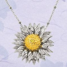 Sterling Silver Two-Tone CZ Sunflower Necklace and Earring Jewelry Set for Women Silver Pendant Necklace, Sterling Silver Pendants, Pendant Jewelry, Jewelry Sets, Silver Jewelry, Jewelry Accessories, Jewelry Necklaces, Silver Ring, Jewlery